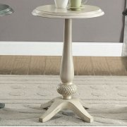 Saira Round Accent Table, Antique White Product Image