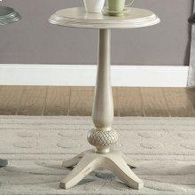Saira Round Accent Table, Antique White