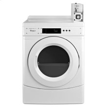 "Whirlpool® 27"" Commercial Electric Front-Load Dryer Featuring Factory-Installed Coin Drop with Coin Box - White"