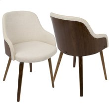 Bacci Chair - Walnut Wood, Cream Fabric