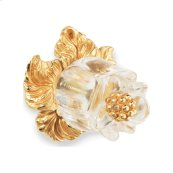 Gold Plate Rock Crystal Rose Bud Pull