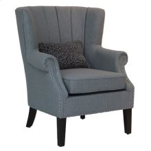 Lenox Upholstered Channel Back Grey Accent Chair with Kidney Pillow