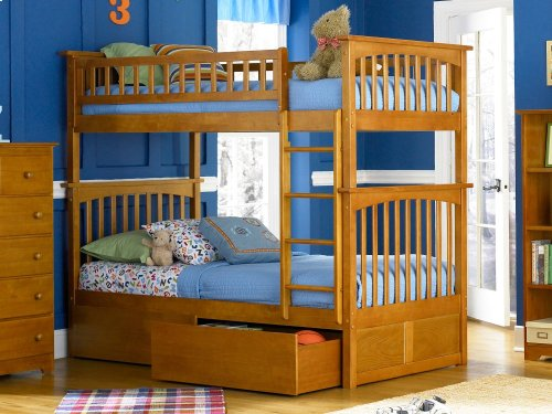 Columbia Bunk Bed Twin over Twin with Urban Bed Drawers in Caramel Latte