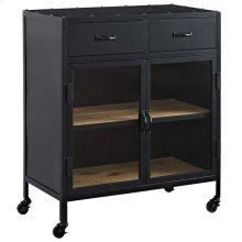 Charm Pine Wood and Steel Cabinet in Black