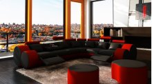 Divani Casa 3087 - Modern Black and Red Bonded Leather Sectional Sofa & Coffee Table
