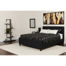 Tribeca Queen Size Tufted Upholstered Platform Bed in Black Fabric