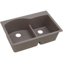 "Elkay Quartz Classic 33"" x 22"" x 10"", Offset 60/40 Double Bowl Drop-in Sink with Aqua Divide, Greige"