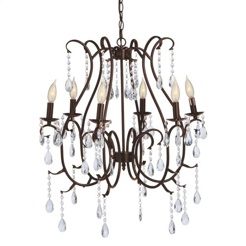 Large Antique Brown Beaded Chandelier. 25W Max. Plug-in with Hard Wire Kit Included.