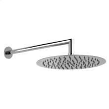 "Wall-mounted pivotable shower head with arm 1/2"" connections Projection from wall 13-11/16"" Diameter 11-13/16"" Max flow rate 2"