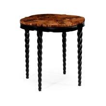 "28"" Black Barleytwist Quatrefoil Side Table"