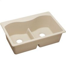 "Elkay Quartz Classic 33"" x 22"" x 9-1/2"", Equal Double Bowl Drop-in Sink with Aqua Divide, Putty"