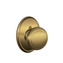 Andover Knob with Wakefield trim Non-turning Lock - Antique Brass