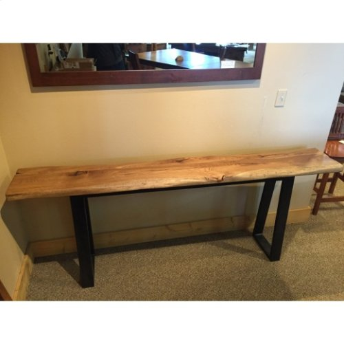 Hickory Live Edge Console Table w/ Metal Frame Base