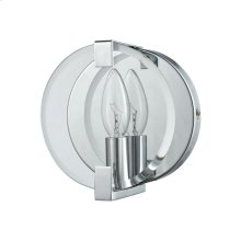 Clasped Glass 1-Light Vanity Sconce in Polished Chrome with Clear Beveled Glass