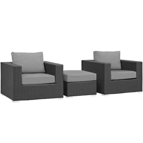 Sojourn 3 Piece Outdoor Patio Sunbrella® Sectional Set in Canvas Gray