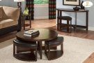 Round Cocktail Table with Four Ottomans Product Image