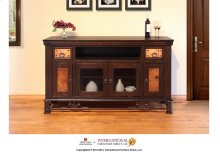 "63"" TV-Stand w/2 Glass doors & 2 Solid wood doors, 2 drawers"