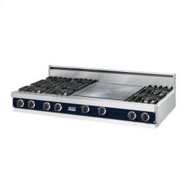 """Viking Blue 60"""" Open Burner Rangetop - VGRT (60"""" wide, six burners 24"""" griddle/simmer plate)"""