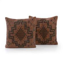 "20x20"" Size Tribal Print Rust Pillow, Set of 2"
