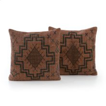 Square Style Tribal Print Rust Pillow, Set of 2
