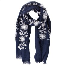Navy Floral Embroidered Scarf.