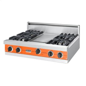 "Pumpkin 36"" Sealed Burner Rangetop - VGRT (36"" wide, four burners 12"" wide griddle/simmer plate)"