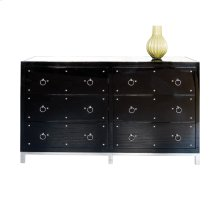 Black Lacquer 6 Drawer Nickel Studded Buffet With Inset Beveled Mirror Top. All Drawers On Glides.