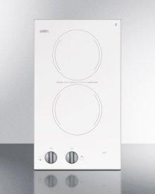 115v Two-burner Cooktop In White Ceramic Glass, Made In Europe