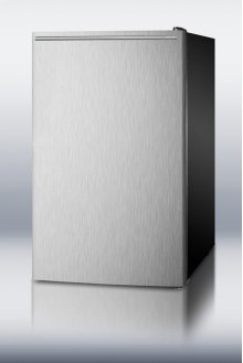 """20"""" wide built-in refrigerator-freezer with a stainless steel door, horizontal handle and black cabinet"""