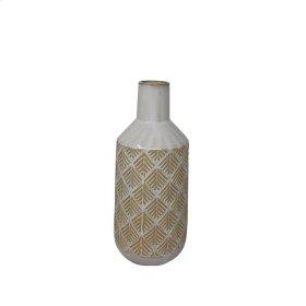 """Ceramic 13"""" Tribal Look Vase, Beige"""