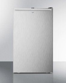 """Commercially Listed 20"""" Wide Built-in Undercounter All-refrigerator, Auto Defrost With A Lock, Stainless Steel Door, Horizontal Handle and Black Cabinet"""