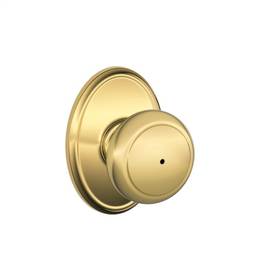 Andover Knob with Wakefield Style trim Bed & Bath Lock - Bright Brass