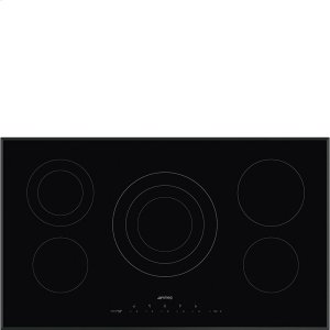 "Smeg90CM (36"") Ceramic Cooktop Black Glass, Beveled"