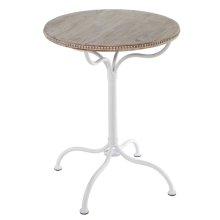 Whitewash Beaded Round Table