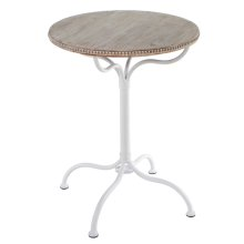 Whitewash Beaded Round Table.