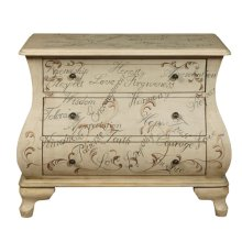 Hand Painted Words Bombay Chest