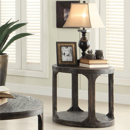 Bellagio - Round Side Table - Weathered Worn Black Finish