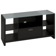 New York Skyline Credenza TV Stand with Glass Top - Modern Mocha