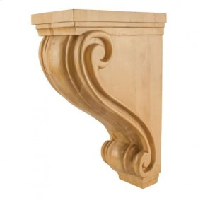 "Large 9-1/2"" x 16"" x 24"" Scrolled Kitchen Hood Wood Corbel, Species: White Birch."