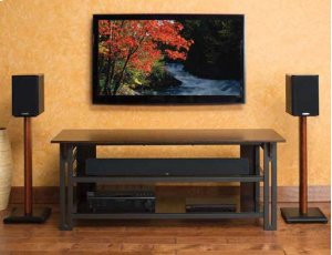 """Gunmetal Audio Video Stand Tempered-glass shelves - fits AV components and TVs up to 65"""""""