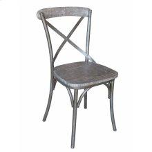Metal X-back Side Chair-brown Wash