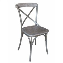 Metal X-back Side Chair-brown Wash