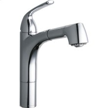 Elkay Gourmet Single Hole Kitchen Faucet Pull-out Spray and Lever Handle with Hi and Mid-rise Base Options Chrome