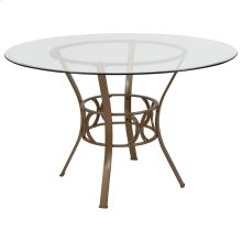 Carlisle 48'' Round Glass Dining Table with Matte Gold Metal Frame