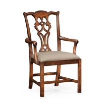 Chippendale Style Classic Walnut Chair (Arm)