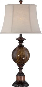 Table Lamp - ANT.BRZ/FAUX Marble/linen Shade, E27 A 150w Product Image