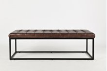 Global Archive Leather Ottoman - Dark Sienna