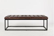 Global Archive Leather Ottoman - Dark Sienna