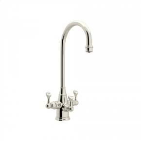Polished Nickel Perrin & Rowe Georgian Era Filtration 3-Lever Bar/Food Prep Faucet with Etruscan Metal Lever