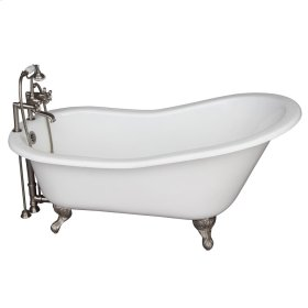 """Icarus 67"""" Cast Iron Slipper Tub Kit - Brushed Nickel Accessories - White"""